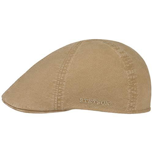 Stetson Texas Organic Cotton Flatcap Herren - Nachhaltige Schiebermütze mit Bio-Baumwolle - Flat Cap mit UV-Schutz (40+) - Herrencap Frühjahr/Sommer - Schirmmütze beige L (58-59 cm)
