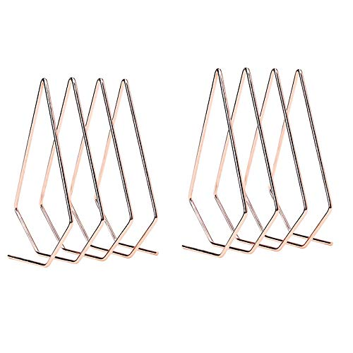 PQZATX 2PCS RoséGold Mail Sorter Wire File Organizer Mail Sorter Schreibtisch Organizer, 3 Slot Diamond Shape Magazine File Holder