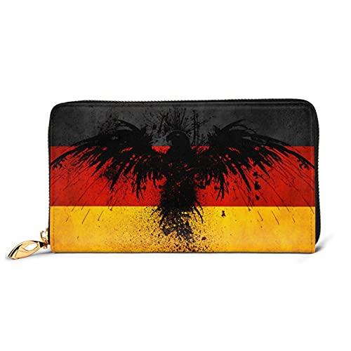 ドイツ国旗 イーグル 長財布 ウォレット おしゃれ 本革 人気 薄型 大容量 多機能 プレゼント用 男女兼用