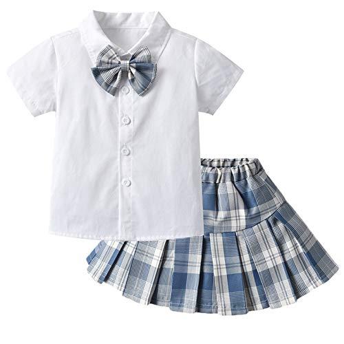 Julhold Conjunto de faldas plisadas a cuadros de cintura alta para niña, con lazo, camisa blanca con lazo, uniforme de traje escolar