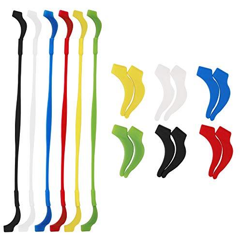 Cadena de Gafas Silicone Elástico con Antideslizante Gancho Deportes Gafas de Sol Soporte Correa para Hombre Mujer Niño Multicolor 6 Pieza