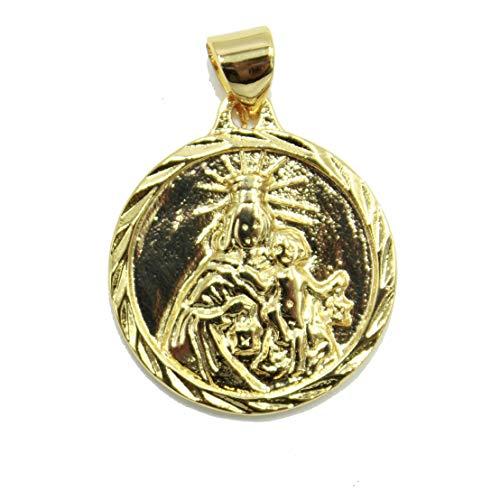 Diamantados of Florida Virgen del Carmen Medalla Redonda - Nuestra Señora de Carmen Medalla 18 K Chapado en Oro Redondo Colgante con Cadena de 20 Pulgadas