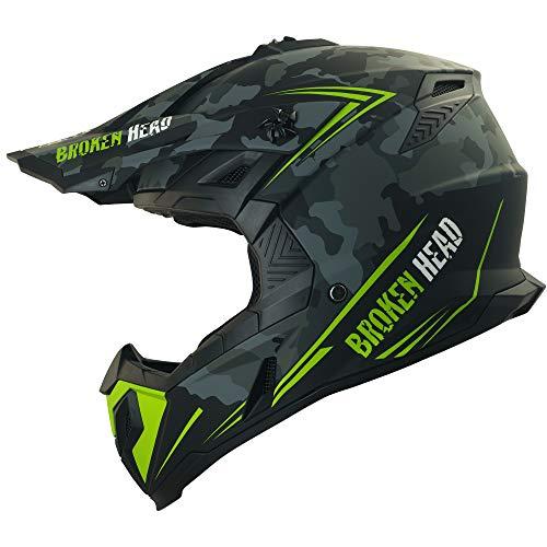 Broken Head Squadron Rebelution - Leichter Motocross & Enduro Helm - Camouflage Grau - Größe M (57-58 cm)
