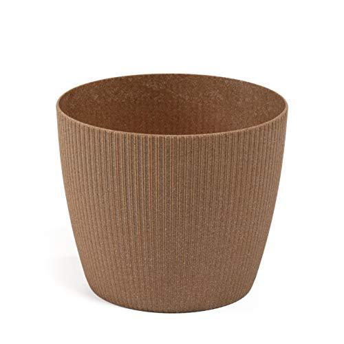 Lamela Eco - Maceta para plantas de hierbas, saltador de magnolia, soporte para alféizar de ventana, balcón, jardín, contenedor para jardín, Madera natural., Ø 190 mm