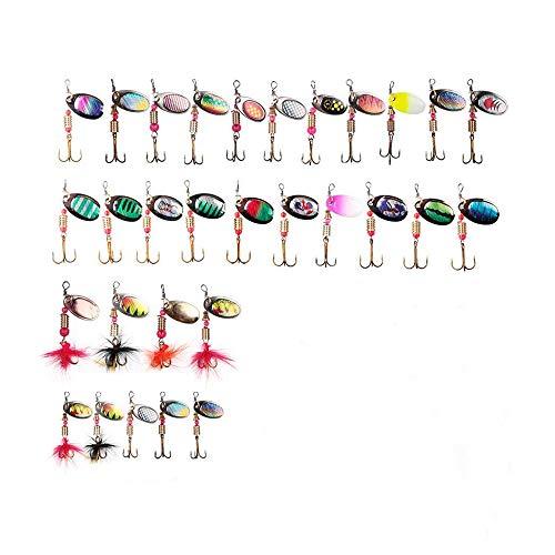 NZYH Kit De Señuelos De Pesca con Lentejuelas De Metal 20 Piezas / 30 Piezas, con Cebo De Plumas, Manivela Manual 2-4G Kit De Cebo De Manivela Artificial 30 Piezas