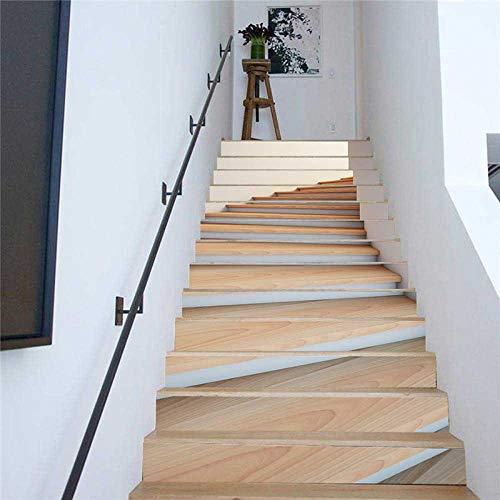 GVRPV 3D Pegatinas para escaleras13 Piezas de Papel Tapiz de PVC escaleras de Grano de Madera Simples Pegatinas de Escalera de Bricolaje Pegatinas dePaso Pegatinas dePared