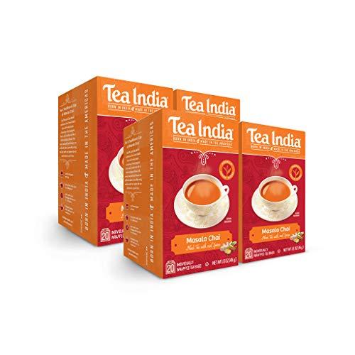 Tea India Masala Chai, 20 Individual Bags, 4Count
