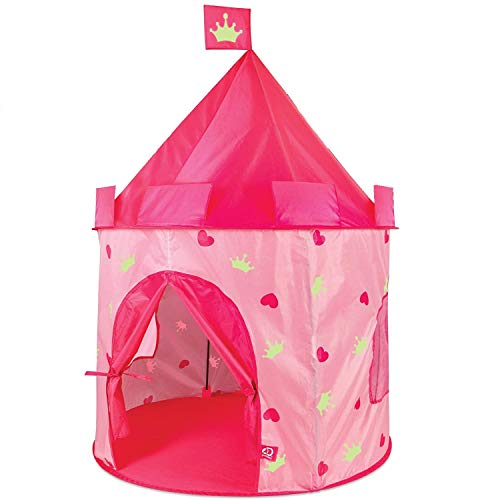Discovery Kids Glow-in-The-Dark Princess Play Castle Tent, Fold Up with Carrying Case