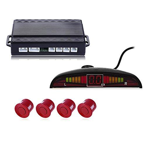 Bourdonnement son Car Capteur de stationnement Auto Parktronic LED avec 4 capteurs inverse moniteur de stationnement Radar de sauvegarde détecteur de System – Rouge