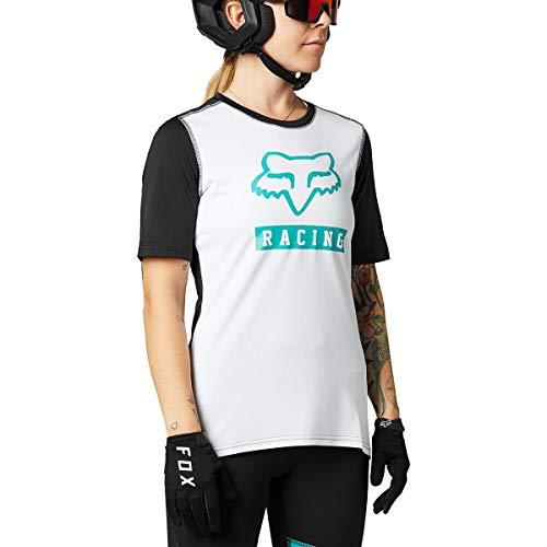 Fox Racing Damen Women's Ranger Short Sleeve Jersey T-Shirt, weiß/schwarz, Groß