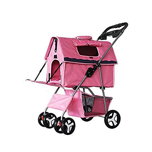 Hondenbuggy, Hondenkat Outdoor Wagon Car, Afneembaar winkelmandje Draagbaar Verstelbaar Zonnescherm 4 Wheel Travel Shopping,Pink