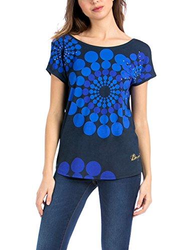 Desigual TS_GENRI, Camiseta Para Mujer, Multicolor (Marino 5001), 38 (Talla fabricante: S)