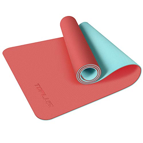 TOPLUS Yoga Mat, Upgraded 1/4 inch Non-Slip Texture Pro Yoga Mat Eco Friendly Exercise & Workout Mat with Carrying Strap - for Yoga, Pilates and Floor Exercises (Orange)