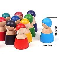 Lewo 12 Pezzi Giocattoli per Bambini in Legno per Ragazzi Ragazze Arcobaleno Bambole Legno Fingere di Giocare Figure di Persone per i più Piccoli Giocattoli Educativi di Apprendimento Prescolare #4