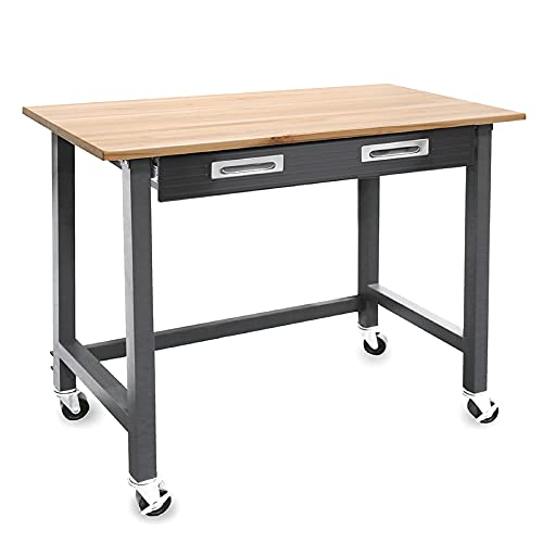Seville Classics UltraGraphite Wood Top Workbench on Wheels with Sliding...