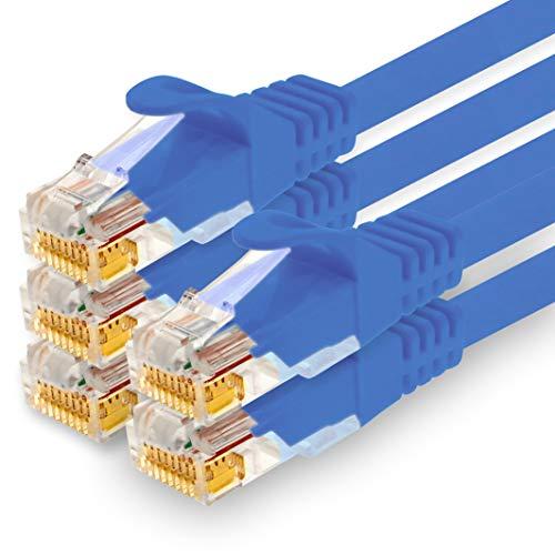 1CONN - 0,5m Netzwerkkabel, Ethernet, LAN & Patchkabel für maximale Internet Geschwindigkeit & verbindet alle Geräte mit RJ 45 Buchse blau - 5 Stück