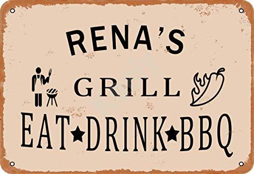Keely Rena'S Grill Eat Drink BBQ Metall Vintage Zinn Zeichen Wanddekoration 12x8 Zoll für Cafe Bars Restaurants Pubs Man Cave Dekorativ