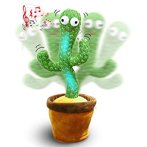 Cactus - Peluche cantante y baile, cactus loro, juguete de peluche para niños, loro que habla, 120 canciones, carga USB (120 sonidos + Lighting)