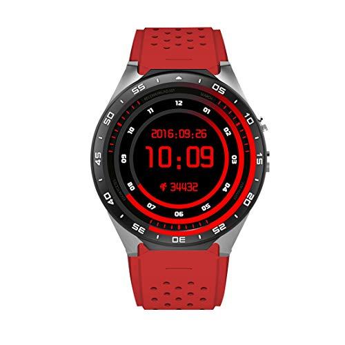 Luoshan KW88 Pantalla AMOLED de 1.39 pulgadas Bluetooth 4.0 Android 5.1 OS MTK6580 Quad Core 1.3GHz Reloj de pulsera inteligente a prueba de agua Teléfono con monitor de ritmo cardíaco y podómetro e i