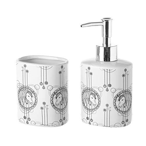 Dispensador y portacepillos de Unicornio de cerámica Blancos Modernos para Cuarto de baño Child - LOLAhome