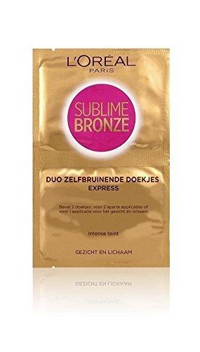 L'Oréal - Lot de 2 lingettes auto bronzantes Sublime Bronze Duo Visage et Corps - Duo Express - 4 x 5,6 ml