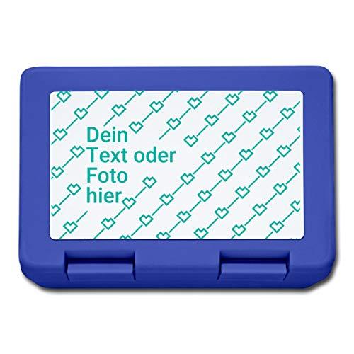 Personalisierbare Brotdose Selbst Gestalten mit Foto und Text Wunschmotiv Lunchbox, Royalblau