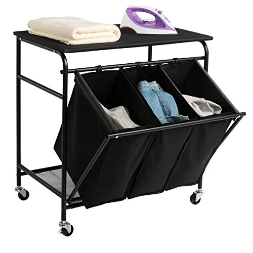 HollyHOME Laundry Sorter Cart with Unopenable Ironing Board with Side pull 3-Bag Heavy-Duty Laundry...