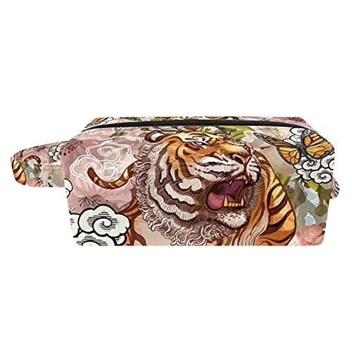 Bennigiry Tiger and Butterfly - Bolsa de maquillaje para mujer con cierre de cremallera, ideal para estudiantes escolares