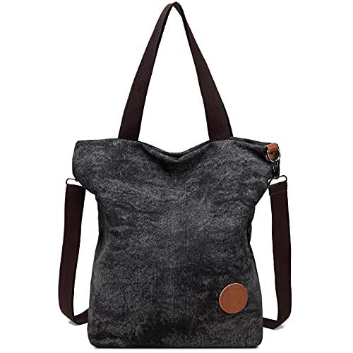 JANSBEN Damen Canvas Handtasche Schultertasche Casual Multifunktionale Umhängetaschen Groß für Arbeit Schule Shopper Lässige täglich (schwarz02)