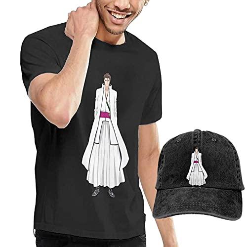 Sosuke Aizen Camiseta para Hombre Bleach Anime Camiseta de Manga Corta y Sombrero de Vaquero