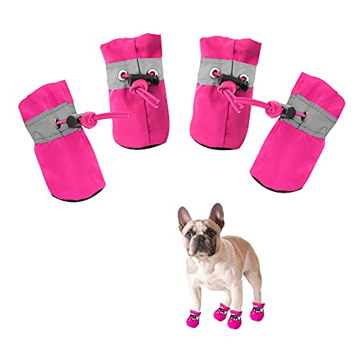 YAODHAOD Hundestiefel Pfotenschutz, Anti-Rutsch-Hundeschuhe Diese bequemen, weichen Sohle sind mit reflektierenden Riemen für kleine Hunde (6, Rosa)