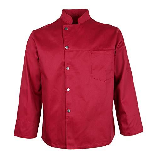 Hellery Chaqueta de Abrigo de Chef para Hombres Y Mujeres, Uniforme de Cocina de Manga Larga para Cocina - rojo, METRO