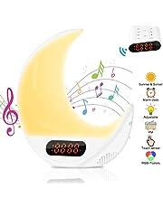 Wake Up Light, AsperX Remote Light Alarm Clock Lámpara de mesilla de noche colorida con simulación de amanecer/atardecer con radio FM, 7 sonidos y colores, función de control táctil LED Despertador