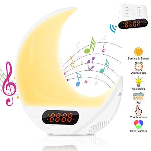 Wake up Licht Lichtwecker Mondform, AsperX Bunte Sonnenaufgang/Sonnenuntergang Simulation mit FM Radio 7 Naturgeräusche & Farben veränderbar Touch Control Nachttischlampe für Erwachsene und Kinder