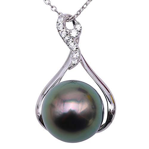 JYX Pearl AAA Encantador colgante de perlas negras cultivadas de Tahití de 12 mm en oro (tahitiano de oro blanco de 14 quilates)