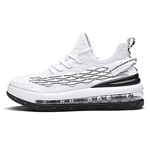 NUEVOS Zapatillas de Deporte para Correr de Color turístico al Aire Libre Transpirables Zapatos de Moda de los Hombres Ocasionales con la Malla Aumenta el cojín de Aire de la Palma Completa White 7