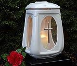Lampada a forma di croce in ceramica bianca e vetro con candela a grappolo, per tomba, per incisioni, per cimitero e giardino