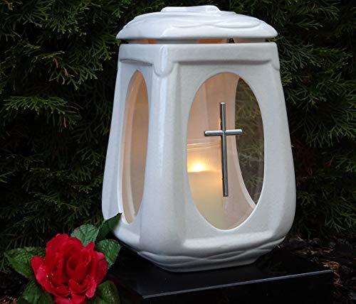 ♥ Grablampe Grablicht Keramik weiß Glas mit Kreuz und Grabkerze Grablaterne Grabschmuck Grableuchte Laterne Kerze Lampe Licht Grab