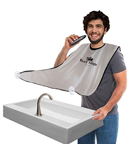 Beard Apron I Hair Clippings Catcher with Bag I Grooming Cape Apron I Beard Catcher for Shaving I White - Non-Stick Beard Cape for Trimming I Perfect Gift For Men I