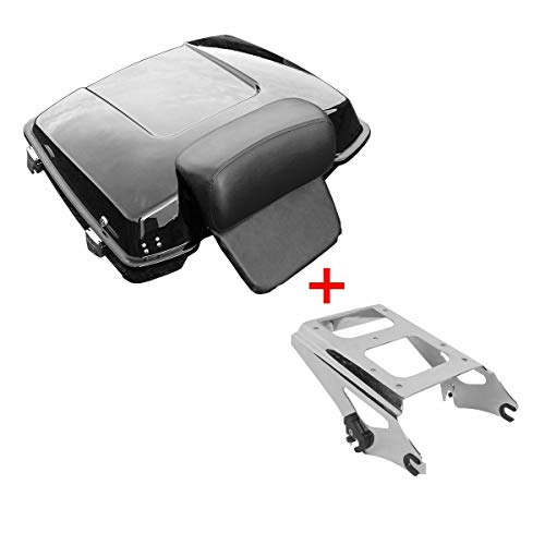 TCMT 5.5' Razor Tour Pack Trunk Backrest Pad Two Up Mounting Rack Fit For Harley Touring FLHR FLHRC FLHT FLHX FLTR FLTRX FLHXSE 2009-2013 (Chrome Latches&Mounting Rack, Two Up Mounting Rack)