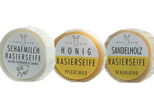 3er Set Haslinger (Honig, Schafmilch, Sandelholz) je 60 Gramm