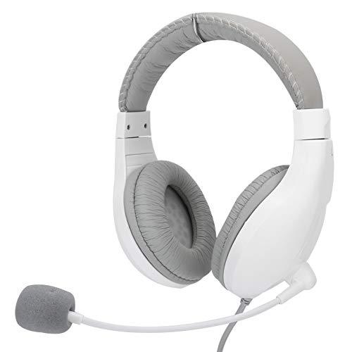 Junlucki con Auriculares para Juegos con micrófono Giratorio, Auriculares para Colocar sobre Las Orejas, computadoras de Escritorio con Cable, portátiles para Aprender a Jugar(White)