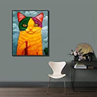 キャンバス塗装 仏猫像ポスターとプリント家の装飾動物絵画北欧の壁アート絵子供の保育園 50*75cm