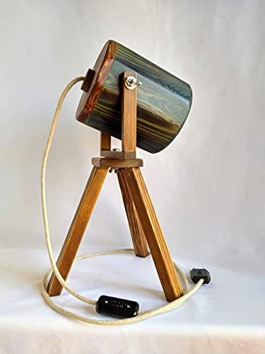 Lámpara foco de cine regulable con trípode de madera reciclada 100% hecha a mano