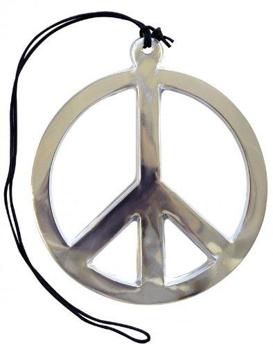AEC - AC0153 - Collier pvc peace and love argente geant diametre 17 cm