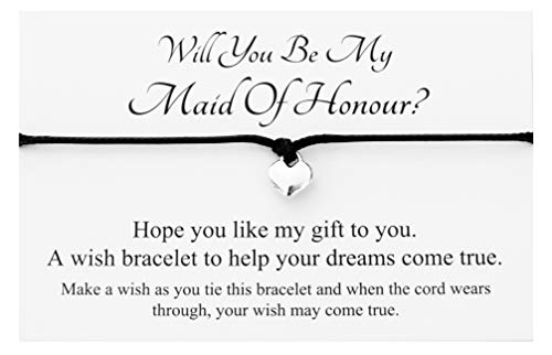 Will You Be My Maid Of Honour Heart Charm wish bracelet,Hen Party favour card Gift Bag (Black)