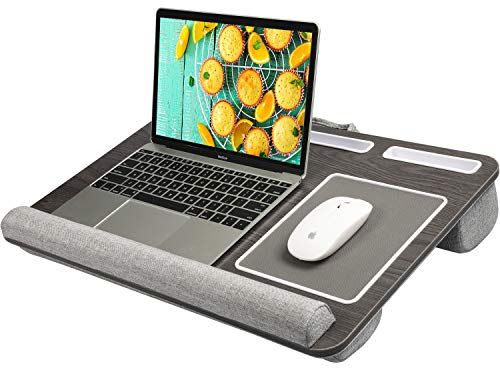 HUANUO Laptop Tray for Bed with Cushion, Built in Mouse Pad & Wrist Pad for Notebook up to 17' with Tablet, Pen & Phone Holder