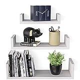 SRIWATANA Floating Shelves Wall Mounted, Solid Wood Wall Shelves, Washed White