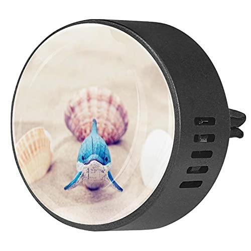 Difusor de aromaterapia para coche,Concha de playa Dolphin ,Clip de ventilación de desodorante de área redonda 2PCS Aceite esencial para difusor de automóvil