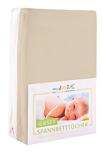 Julius Zöllner Jersey Spannbetttuch Doppelpack für das Kinderbett, Gr. 60x120 / 70x140, sand & weiß